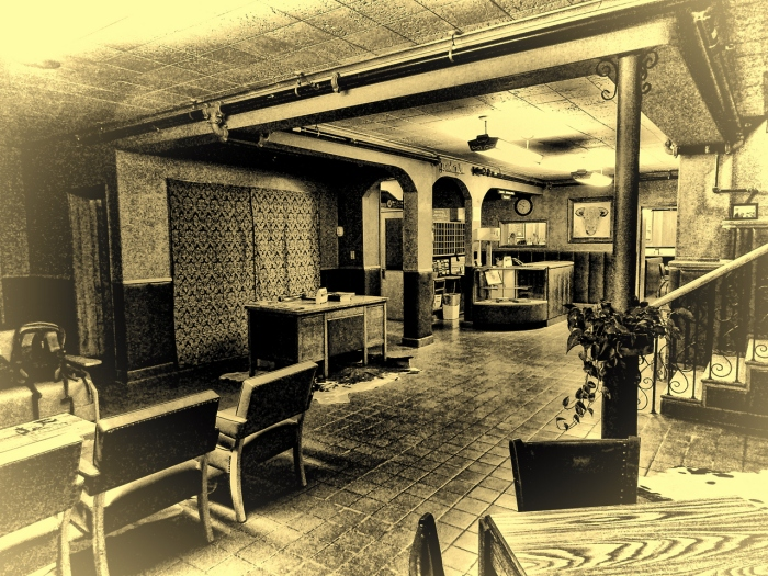 "Bassett Lodge and Ranch Cafe. This was the lobby of the circa 1950""s hotel I stayed at while there.  It was like going back in time 50 or 60 years."