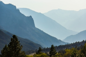 Winds pushed smoke from a wildfire on the Wyoming side of the Beartooth Mountain range, creating perfect conditions to capture the layers in the West Rosebud River valley.