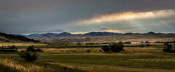 Panoramic of ranch land in the Stillwater River valley in Montana.