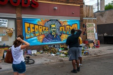 Art work, Paintings, Memorial to the life of George Floyd in and around 38th and Chicago Ave in Minneapolis. 2020 Black lives Matters,